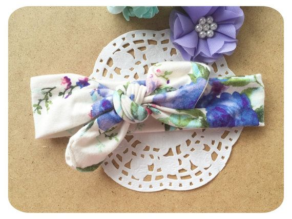 Floral Print Jersey Stretch bow Headband top by AllureHandmade