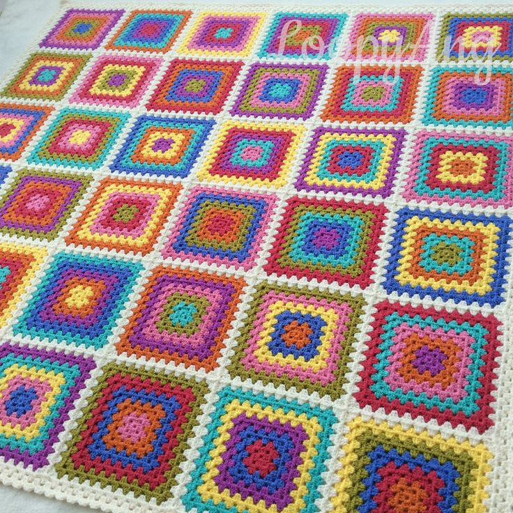 Retrò nonna coperta colorate piazze Throw di LoopyAngCrochet