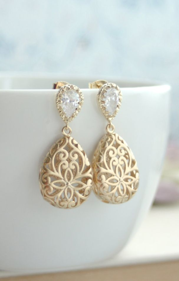 Gold Puffy Filigree Cubic Zirconia Ear Post Earrings ~ Gold earings ~