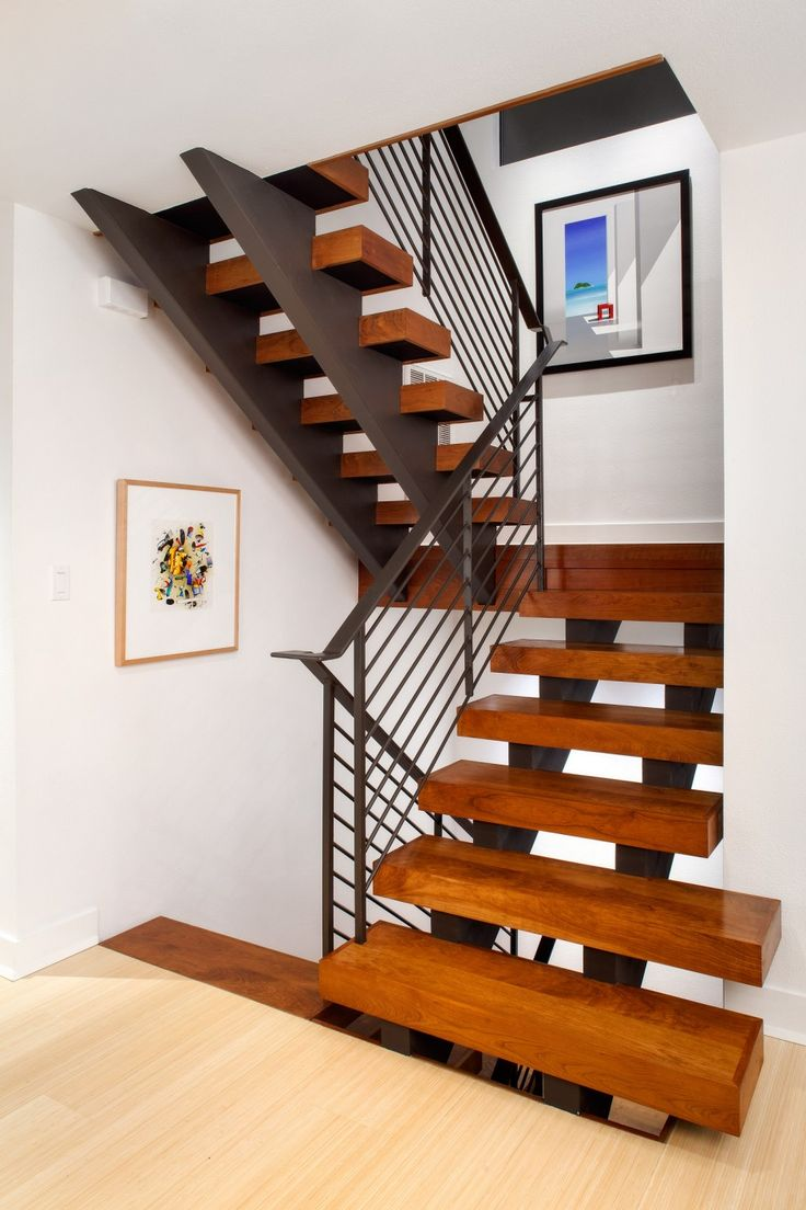 Best Astonishing Looking Wooden Floating Stairs With Black Iron 400 x 300