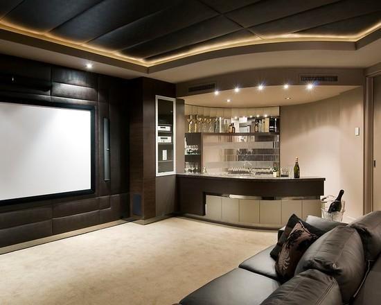 Sala de filme com cozinha