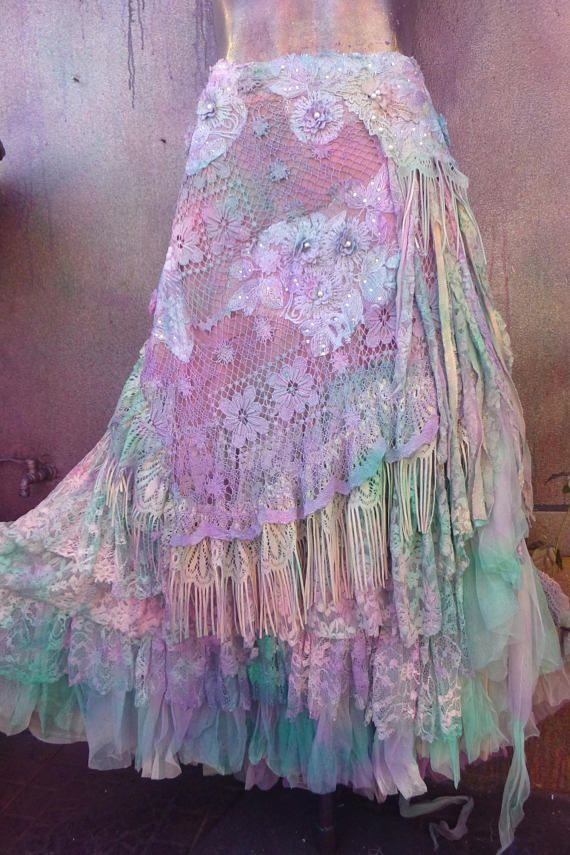wedding skirt,tattered skirt, stevie nicks, bohemian skirt, boho skirt, gypsy skirt, lagenlook skirt,OAK, shabby wrap skirt.. she,s an absolutely gorgeous bohemian wrap around shabby skirt sprayed over in soft turquoise,pink and lilac hues and kissed with assorted laces,bridal