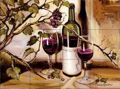 Tile Mural - Ripe From The Vine - Kitchen Backsplash Ideas - traditional - Tile…