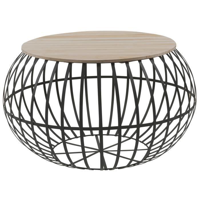 Nest Table Basse Ronde Style Industriel Naturel Et Noir L 65 X L 65 Cm En 2020 Table Basse Ronde Table Basse Decoration Salon Canape Noir