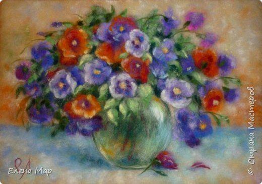 Картина панно рисунок День рождения Валяние фильцевание Рисование и живопись Шерсть Букет Шерсть Маленький МК
