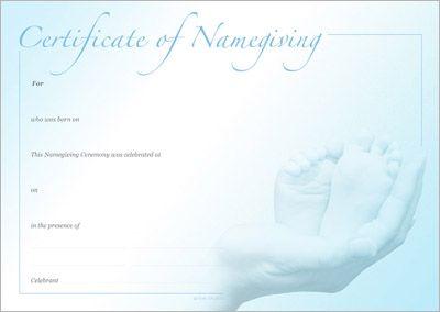 Naming Certificate - Two Feet Blue design.