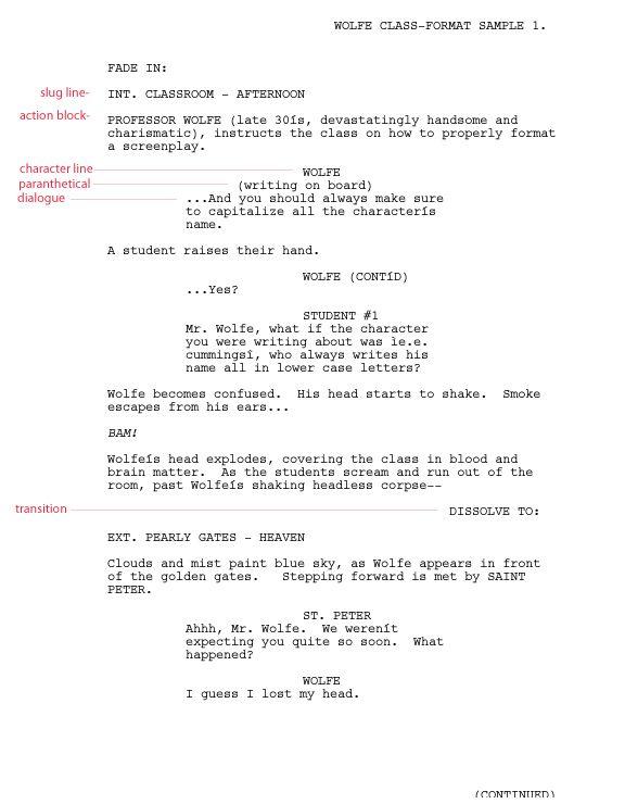 Screenplay Format Template Screenplay Screenplay Template