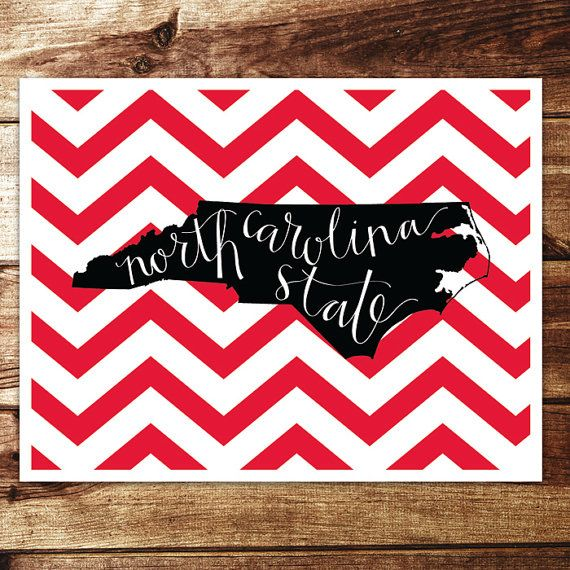 A great print for current student, alumni, or just fan in general. The script is handwritten lettering atop an outline of North Carolina.