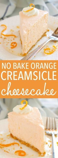 This No Bake Orange Creamsicle Cheesecake is a creamy, easy to make, no bake dessert with a sweet orange flavor, inspired by a delicious summer treat! Recipe from thebusybaker.ca!
