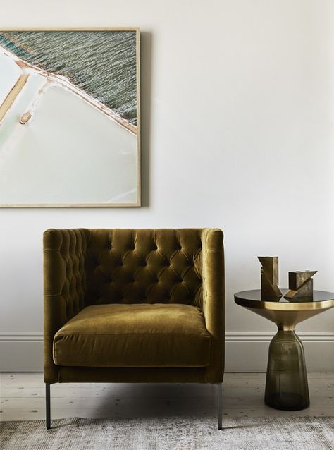 Ochre tufted armchair. Brass side table. Luxury interiors. Australian Interior Design Awards