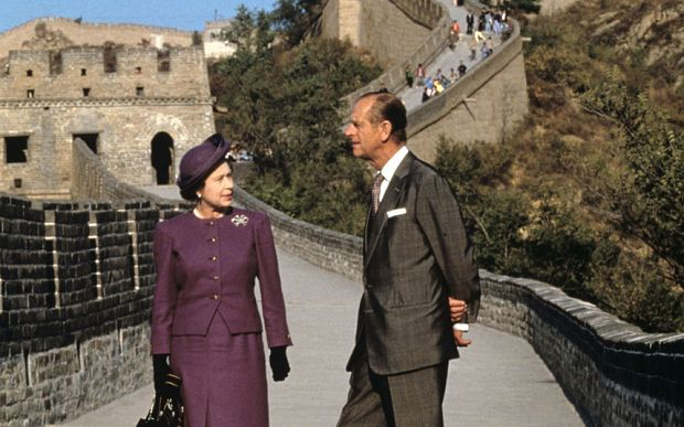 Queen Elizabeth II and Prince Philip during their 1986 Tour of China (Rex)