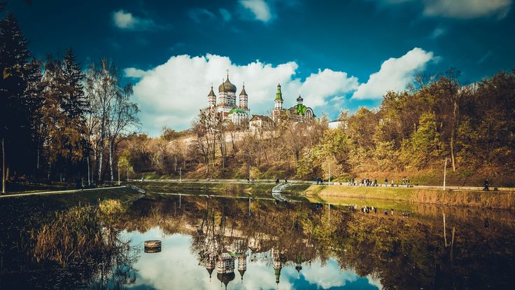 Download Wallpaper 3840x2160 Feofania, Kiev, Cathedral, Reflection, Pond 4K Ultra HD HD Background