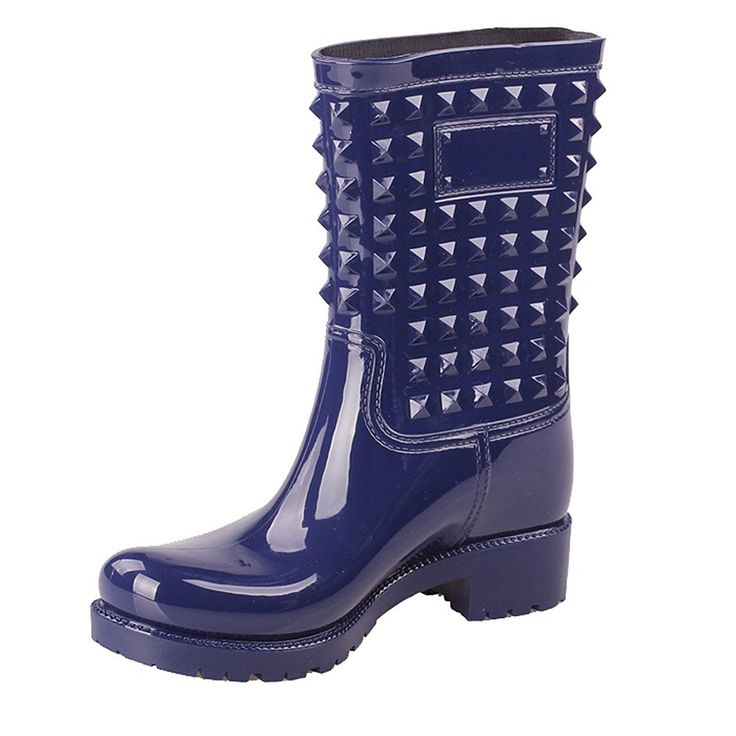 Getmorebeauty Women Mid Calf Rivet Spike Jelly Snow Rain Boot * To view further for this item, visit the image link.