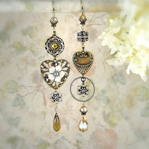 Smitten Asymmetrical Earrings - Boho Wedding - Romantic Heart Earrings - Flower Earrings - Unique Champagne Earrings - Boho Garden Wedding on Wanelo