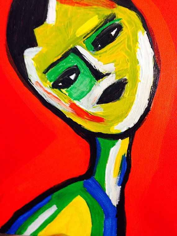 Abstract face on canvas original acrylic by SachaMichelleArt