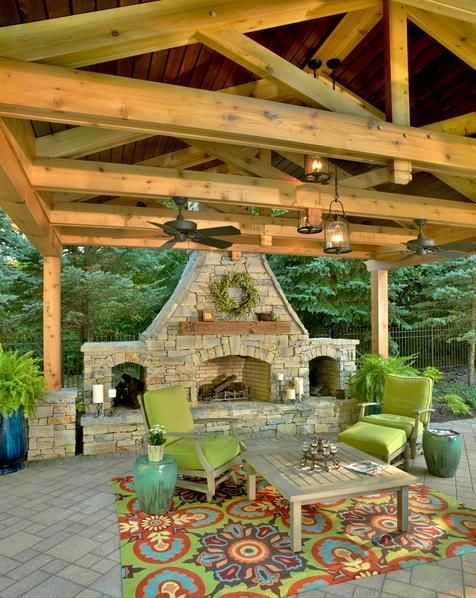 Patio design with pavillion and fireplace