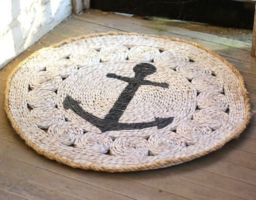 "Ship's Anchorage Coiled Rush Entry Mat. 37"" Diameter."