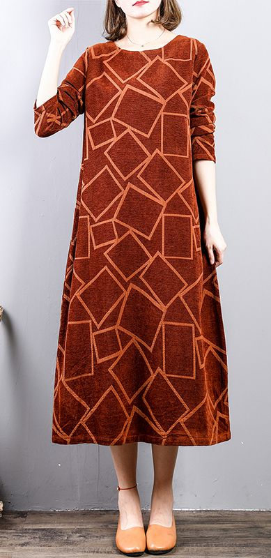 0884c0e7ff46 New brown orange long corduroy dresses oversize long sleeve gown ...