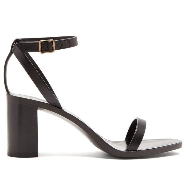 Saint Laurent Loulou wood and leather sandals (1675 TND) ❤ liked on Polyvore featuring shoes, sandals, black, wooden sandals, black strap shoes, buckle sandals, wood sandals and wooden block heel sandals