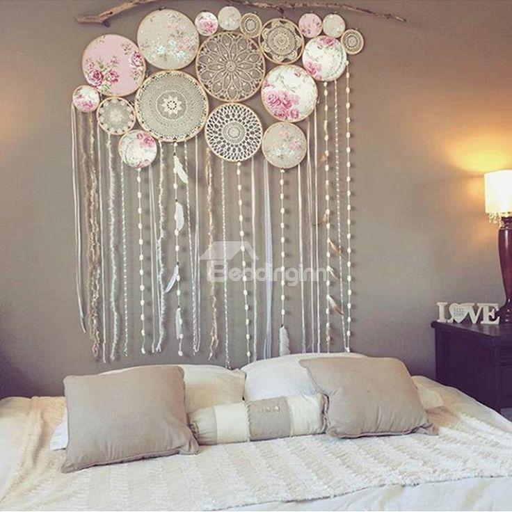 White Pink Handmade Dream Catcher With Tassels Bohemian Style Wall Decor Handmade Dreamcatcher Dream Catcher Large Dream Catcher