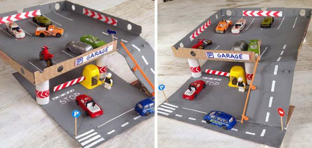 Parking de coches hecho con cajas de pizza y tubos de - Cajas para guardar juguetes ...