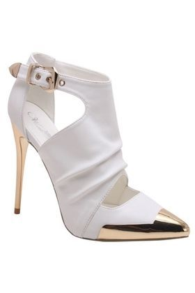 www.ScarlettAvery.com Chanel Gold Plate Heel Toe White Leather Bootie