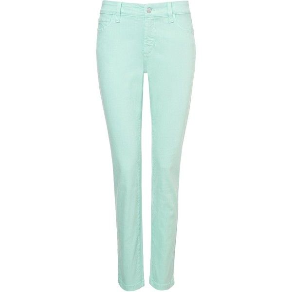 NYDJ Skinny In Mint Green Coloured Denim ($140) ❤ liked on Polyvore featuring jeans, pants, bottoms, pants/shorts, green, sale, slim fit jeans, slim jeans, mint green jeans and super skinny jeans