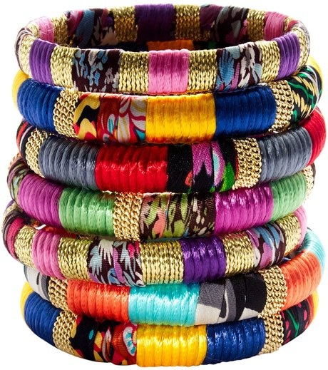mixed fabric and gold thread bangles