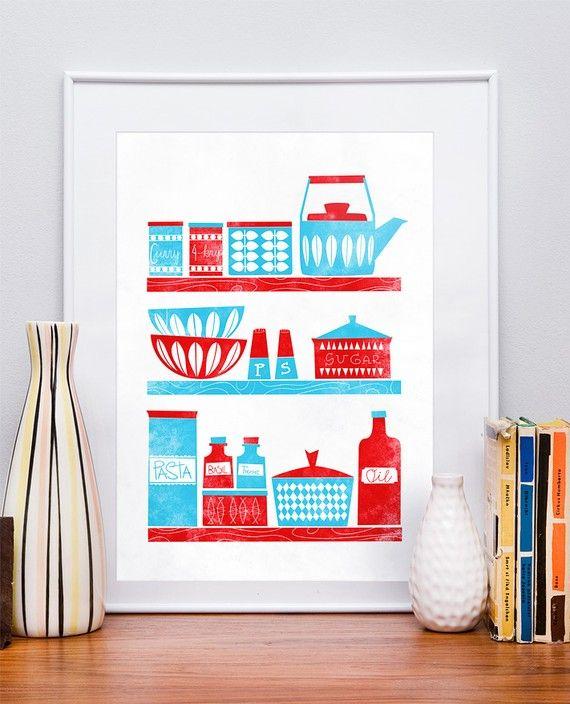 NEW Restyle poster retro kitchen  Een poster van Jan Skácelík met de print van een typisch Scandinavisch servies. Deze poster heeft een afmeting van 42 x 29,7 cm. Kun je niet kiezen uit de kopjes-posters van Jan Skácelík? Neem dan het hele servies!
