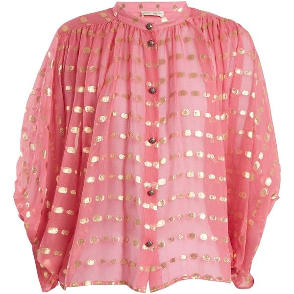 Etro Polka-dot batwing-sleeve chiffon blouse ($990) ❤ liked on Polyvore featuring tops, blouses, pink gold, glitter blouse, pink chiffon blouse, pink top, boho blouse and red top