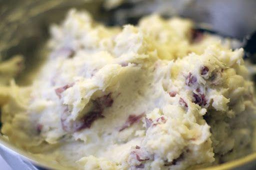 Cheesecake Factory's Mashed Potatoes Copycat recipe http://www.cdkitchen.com/recipes/recs/512/Cheesecake_Factory_Mashed_Potatoes31270.shtml