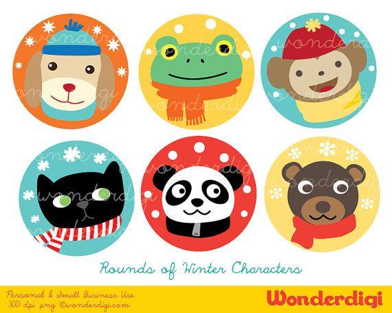 Winter Clip Art Round Labels Xmas Clip art Winter by wonderdigi, $5.00
