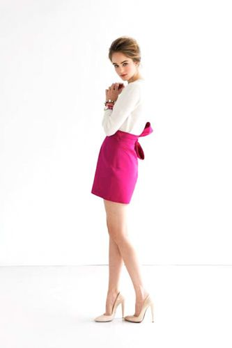 Katie Ermilio spring 2012: Beauty Skirts, Wicked Skirts, Pink Skirts, Marilyn Skirts, Pink Bows, Bow Skirt, Pencil Skirts, Ermilio, Spring