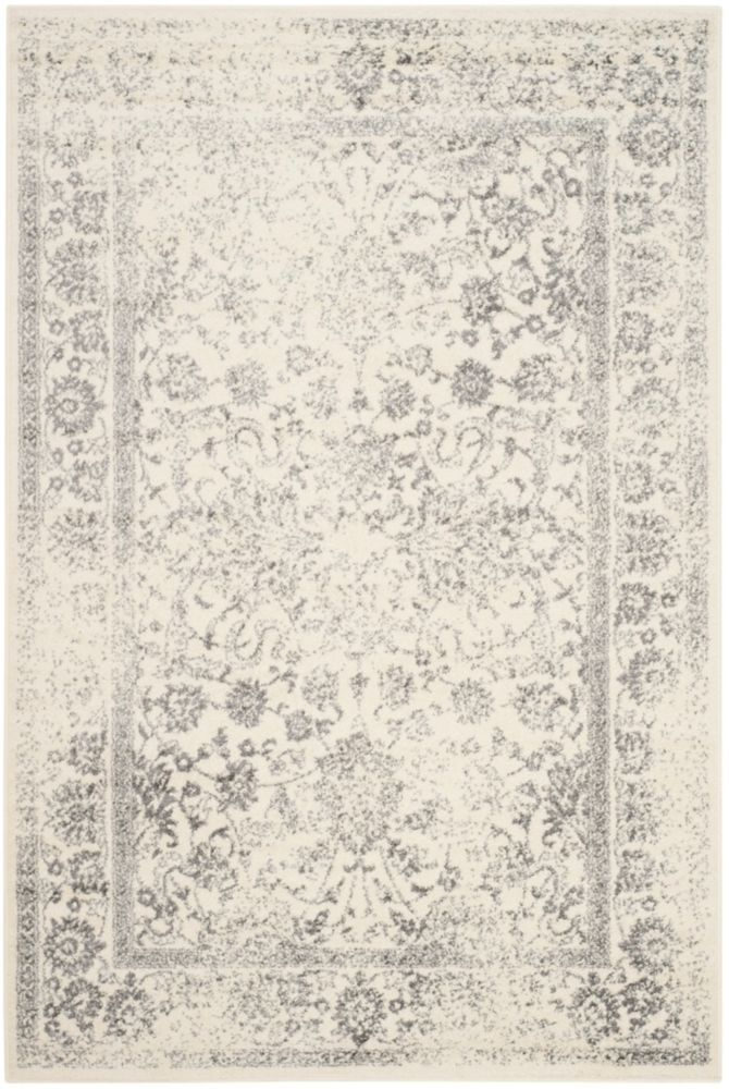 Adirondack Mackenzie Ivory Silver 5 Ft 1 Inch X 7 Ft 6 Inch Indoor Area Rug Area Rugs Farmhouse Rugs Rugs