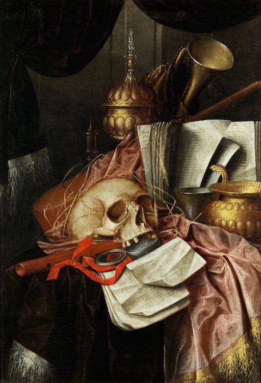 Franciscus Gysbrechts,   tätig um 1672, zug.    VANITAS STILLLEBEN MIT GOLDENEM DECKELPOKAL, MUSIKINSTRUMENTEN UND EINEM SCHÄDEL Öl auf Leinwand. 85,7 x 59 cm. Der flämischer Maler ist namensverwandt mit...
