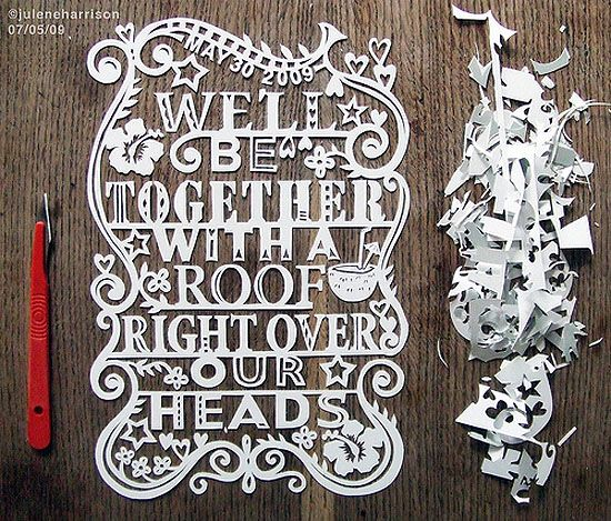 Intricate paper cut message
