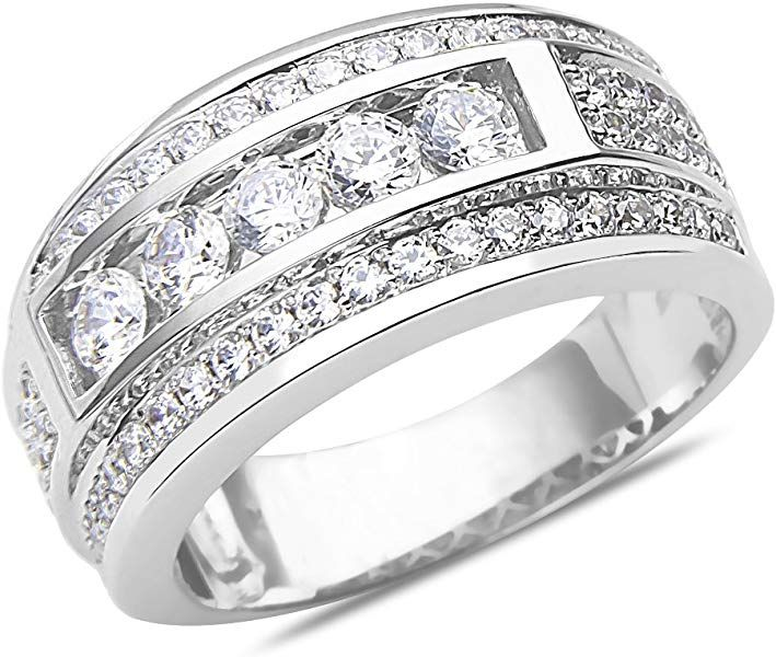 Amazon Com Men S 1 1 2ct Diamond Wedding Band In 14k White Gold With A Cage Back Jewelry Gold Band Wedding Ring Diamond Wedding Bands 2ct Diamond
