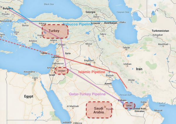 Note the purple line which traces the proposed Qatar-Turkey natural gas pipeline and note that all of the countries highlighted in red are part of a new coalition hastily put together after Turkey finally (in exchange for NATO's acquiescence on Erdogan's politically-motivated war with the PKK) agreed to allow the US to fly combat missions against ISIS targets from Incirlik. Now note which country along the purple line is not highlighted in red. That's because Bashar al-Assad didn't support…