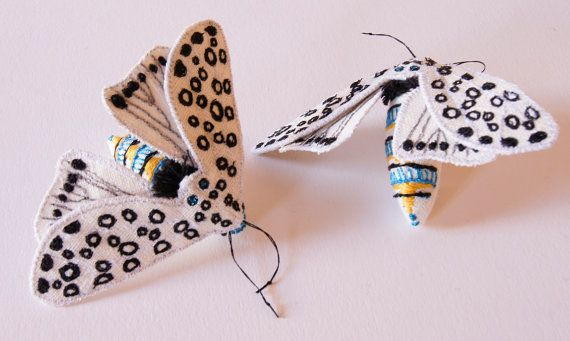 Giant Leopard Tiger Moth Textile Statement Fiber Brooch Entomology Natural History Woodland Accessory Luxury Gift for Her Creature of the Night  They are there for the promise of light.  And they are easy to see, silhouetted against the door frame as they come, attracted by the porch