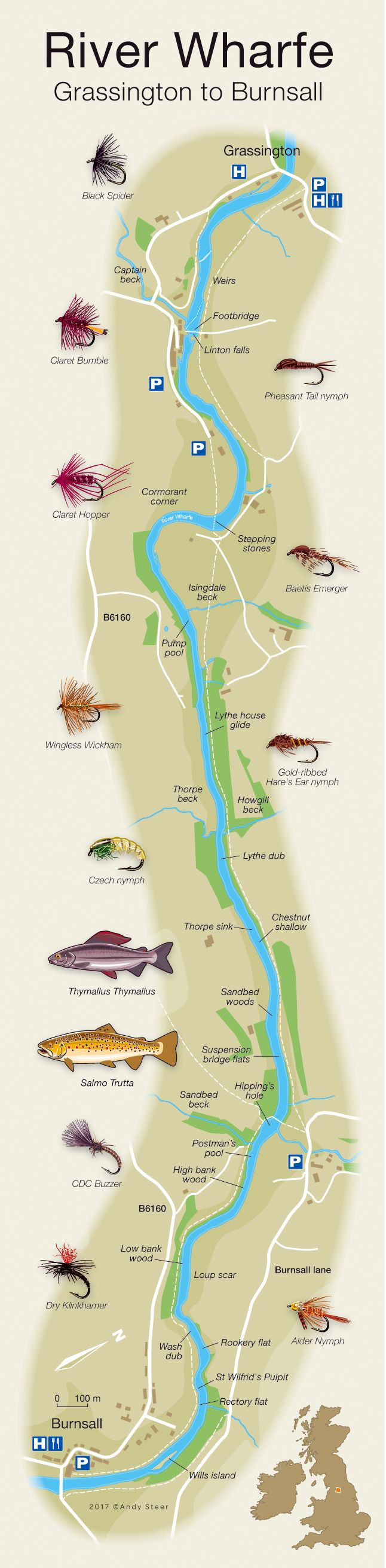 River Wharfe fishing map showing the named pools/beats and river access.
