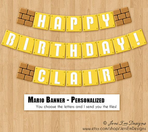 Super Mario Bros. Birthday Banner - Personalized Option