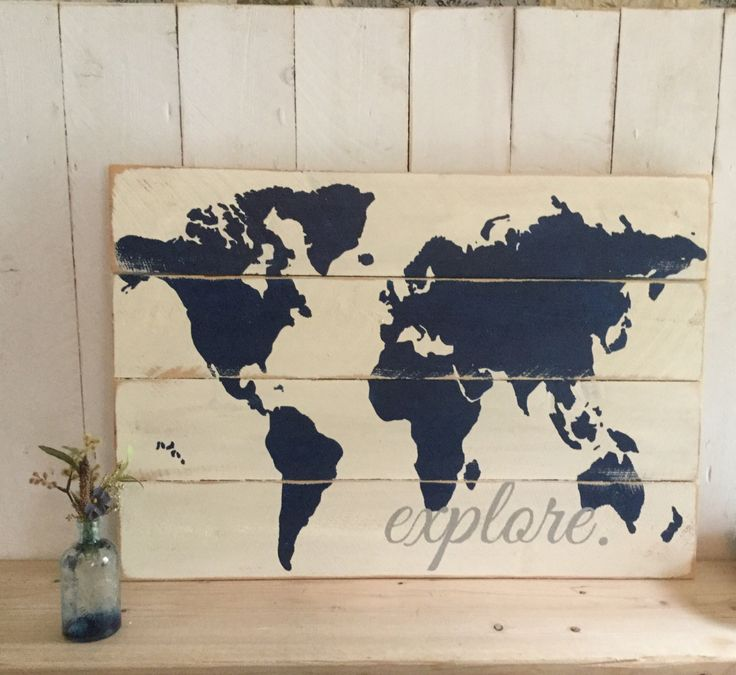 Explore World Map - Wooden Nursery Map - Travel Themed Decor - Boys Room Decor - Travel Map