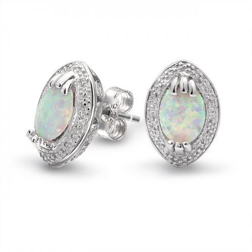 925 Sterling Silver Victorian Style White Gemstone Opal Stud Earrings