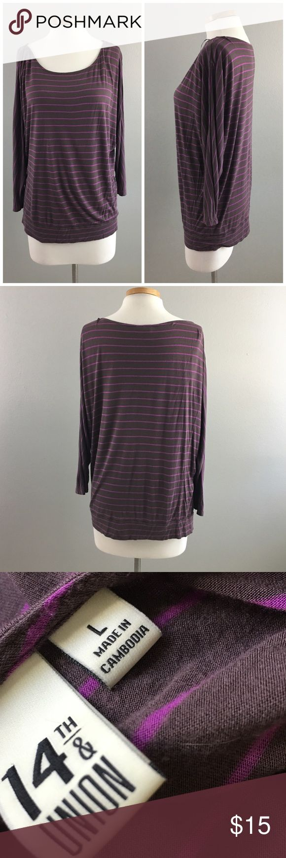 14th & Union Grey Purple Striped Dolman Top 14th & Union Grey Purple Striped Dolman Top. Size large. Thank you for looking at my listing. Please feel free to comment with any questions (no trades/modeling).  •Fabric: 100% Viscose  •Condition: VGUC, no holes or satins.   25% off all Bundles or 3+ items! Reasonable offers welcome. Visit me on INSTA @reupfashions. JA 14th & Union Tops Blouses