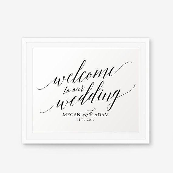 Gepersonaliseerde bruiloft teken Welkom op onze bruiloft