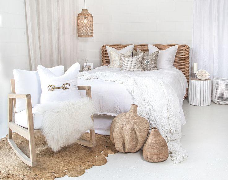 Uniqwa Furniture | Zulu Bed Head, Indoor/outdoor Bahama Rocking Chair, Gourd Baskets, Lili Pendant Lamp & Takke Side Table. Photography: Uniqwa Furniture