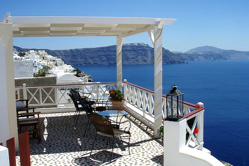 : Santorini Greece, Favorite Places, Santorini Balconies, Beautiful Balconies, Open Spaces, Beautiful Places, Back Porches, Dreams Life, Ocean View