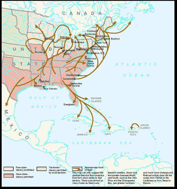 some major underground railroad routes