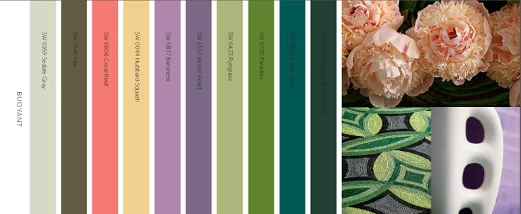 Buoyant - Bright florals, green spaces, urban environments define the color in this palette.