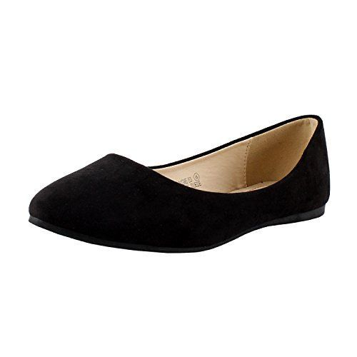 Bella marie Angie53 Womens Classic Pointy Toe Ballet PU Slip On Suede Flats Black 8 * Check out this great product. Note:It is Affiliate Link to Amazon.